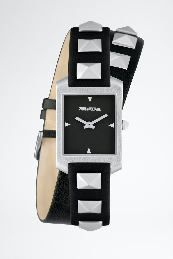 Timeline studs and leather watch
