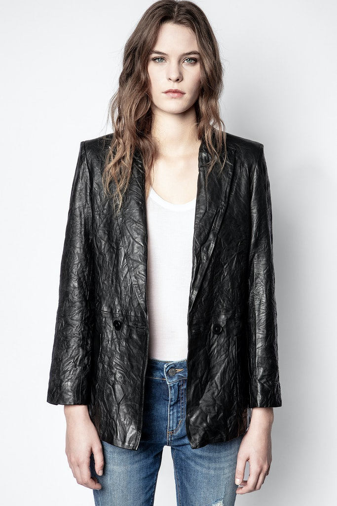 Visco Crinkle Leather Jacket