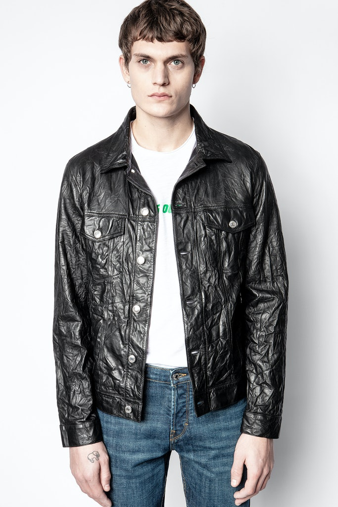 Creased leather base jacket