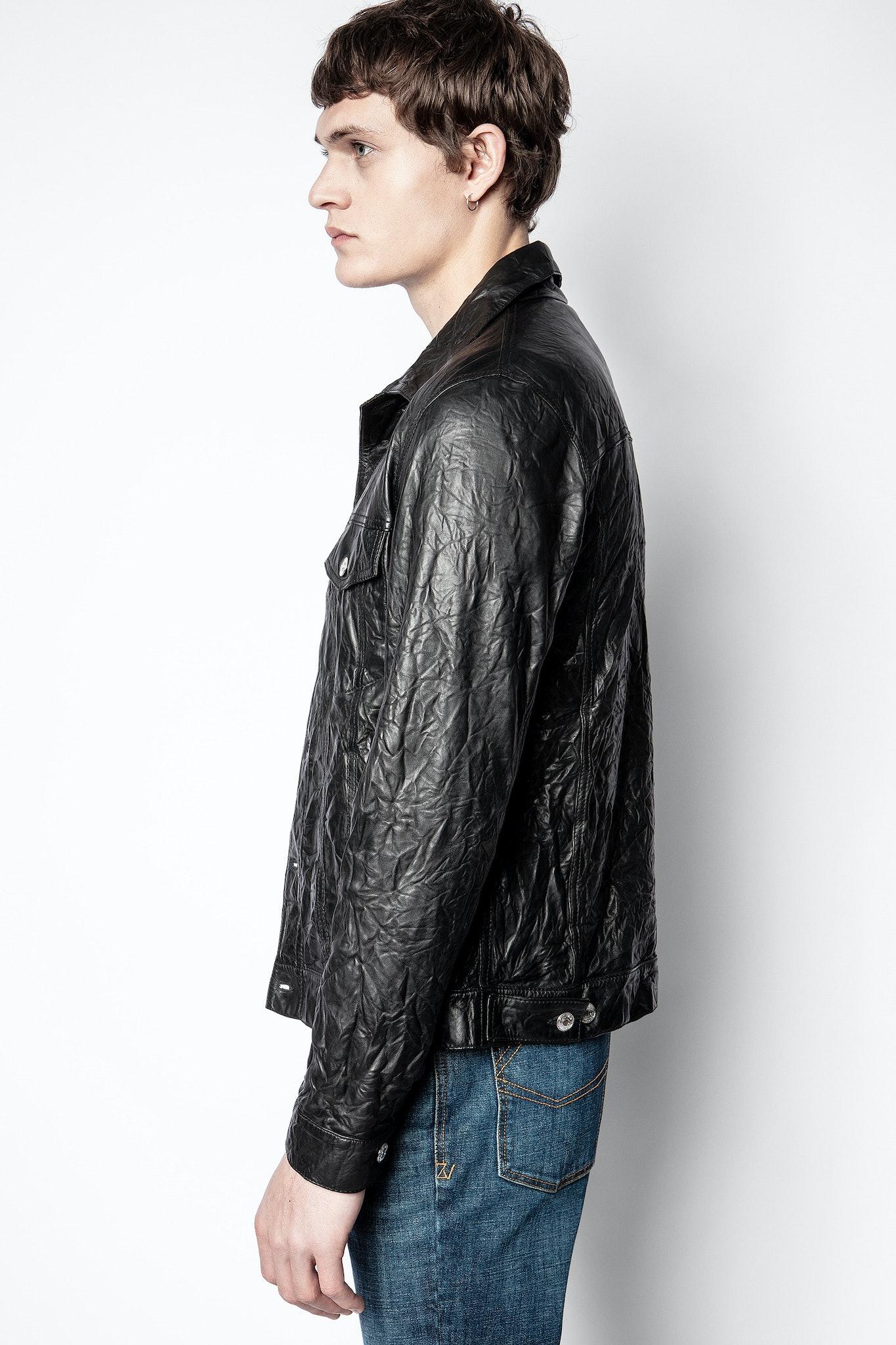 Creased leather base jacket