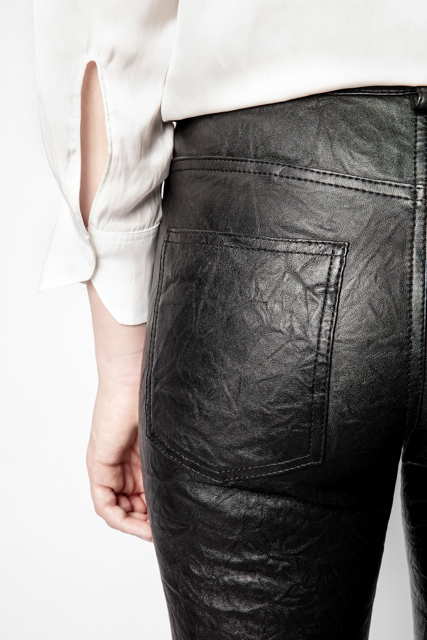 Pantalon Phlamo Cuir Froissé