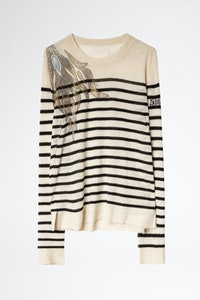 Miss Stripes Flower Cachemire Sweater