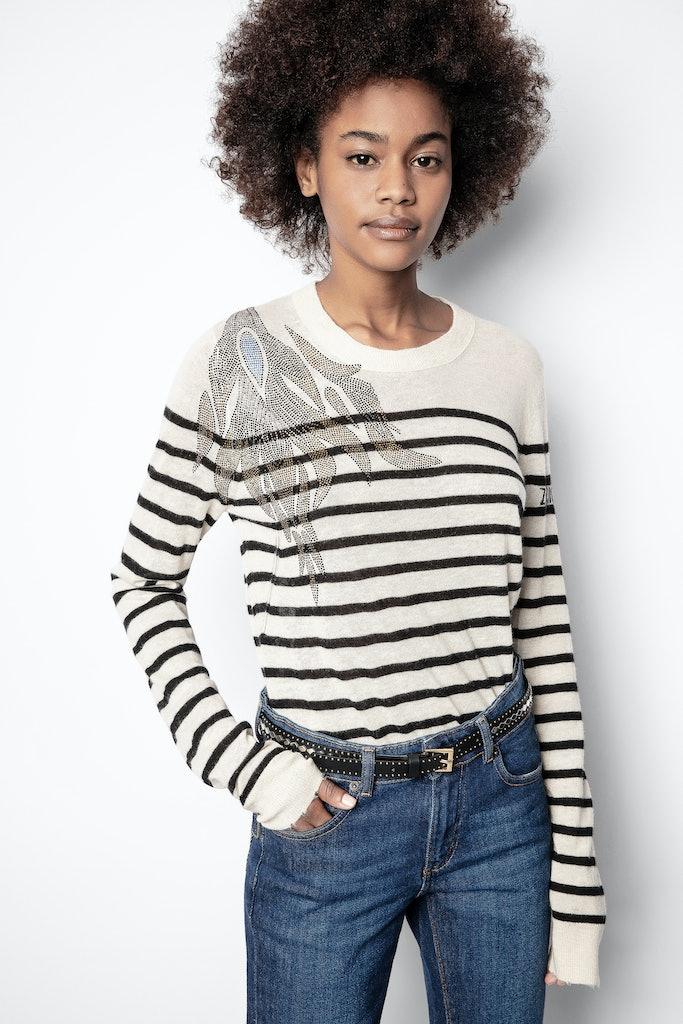 Miss Stripes Flower Cachemire Sweater