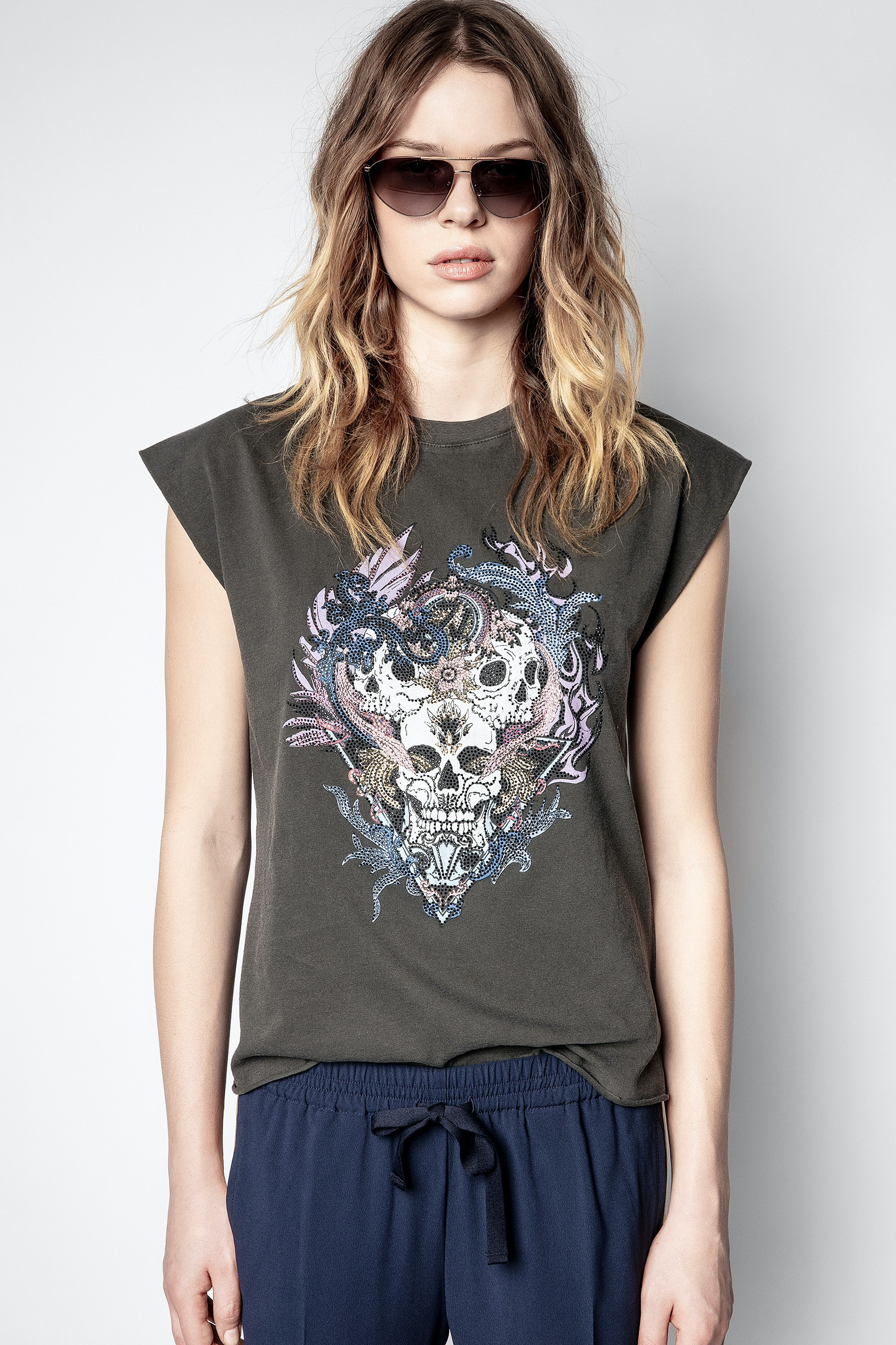 Débardeur Weny Compo Skull Strass