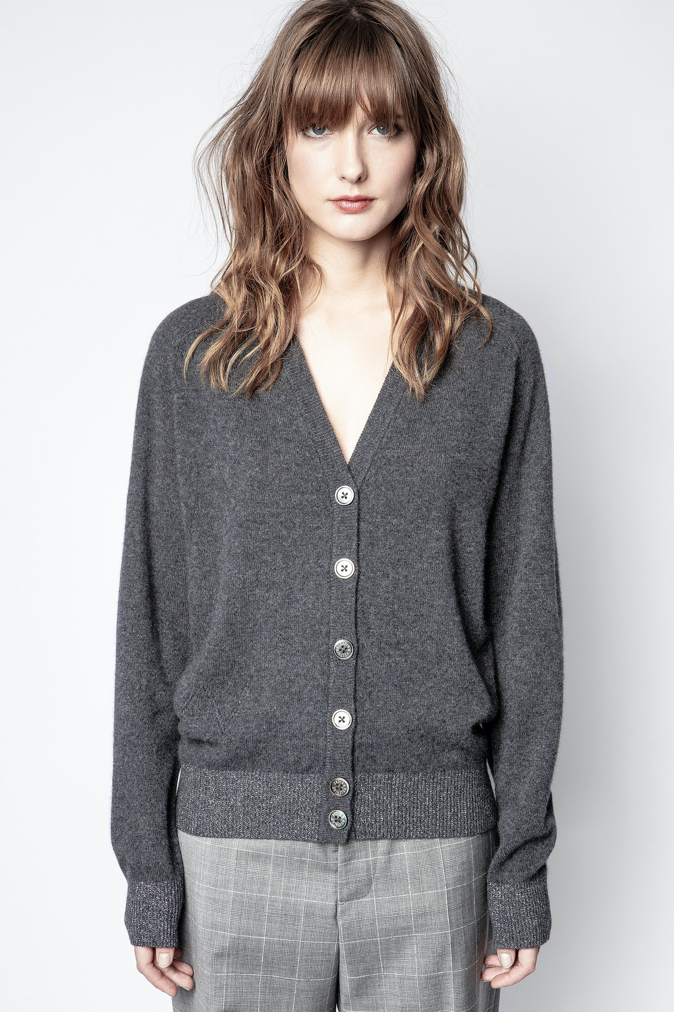 Cardigan Jim Patch Lurex Kaschmir