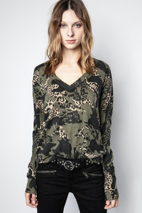 Pull Brume Print Camou Cachemire