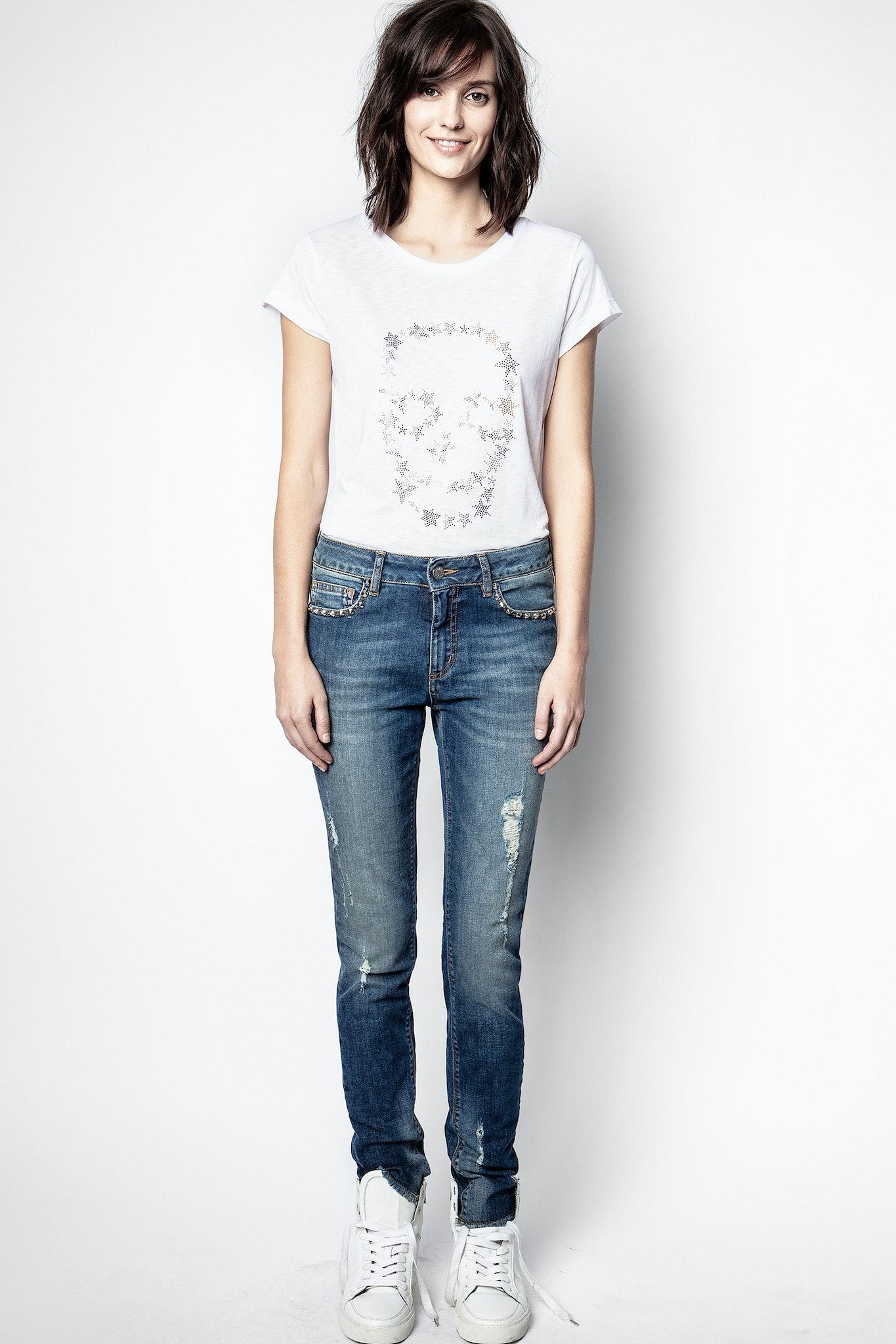 T-Shirt Skinny Strass Skull Stars