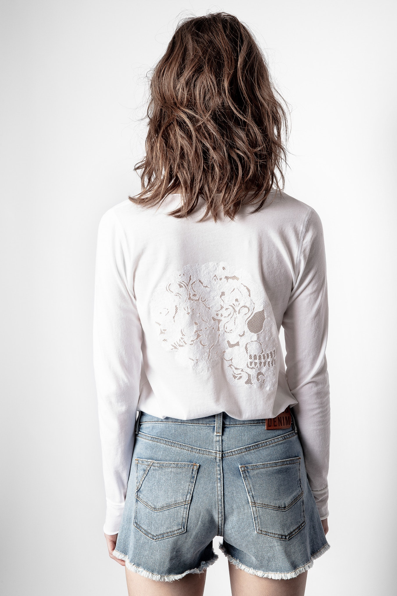 Fishnet Mandala Skull Henley T-Shirt