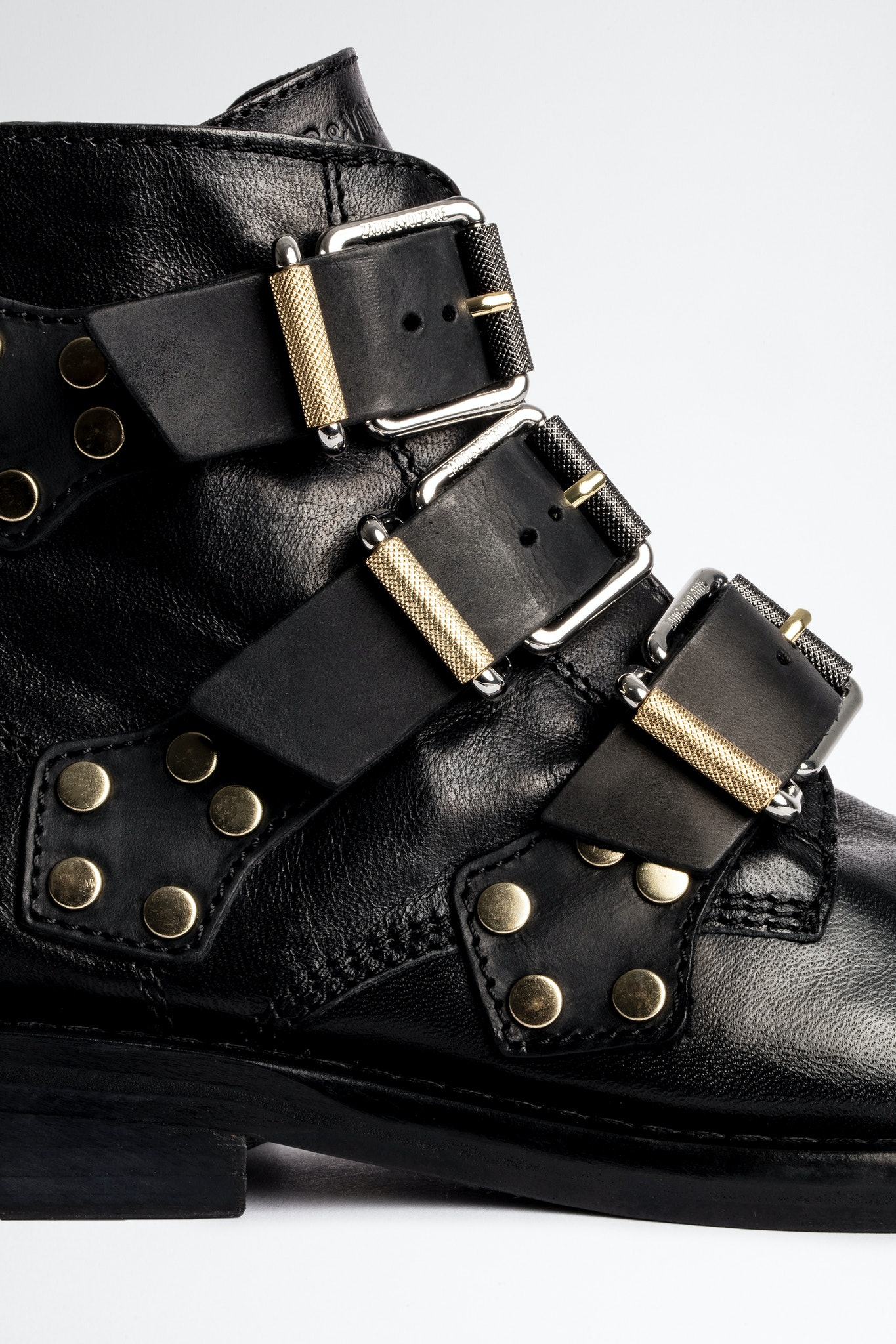Laureen Buckle Flat Studs Ankle Boots
