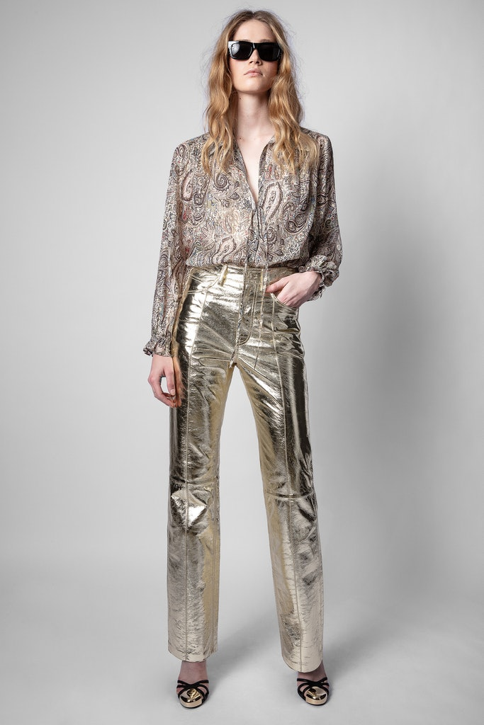 Pantaloni Poete gold foil