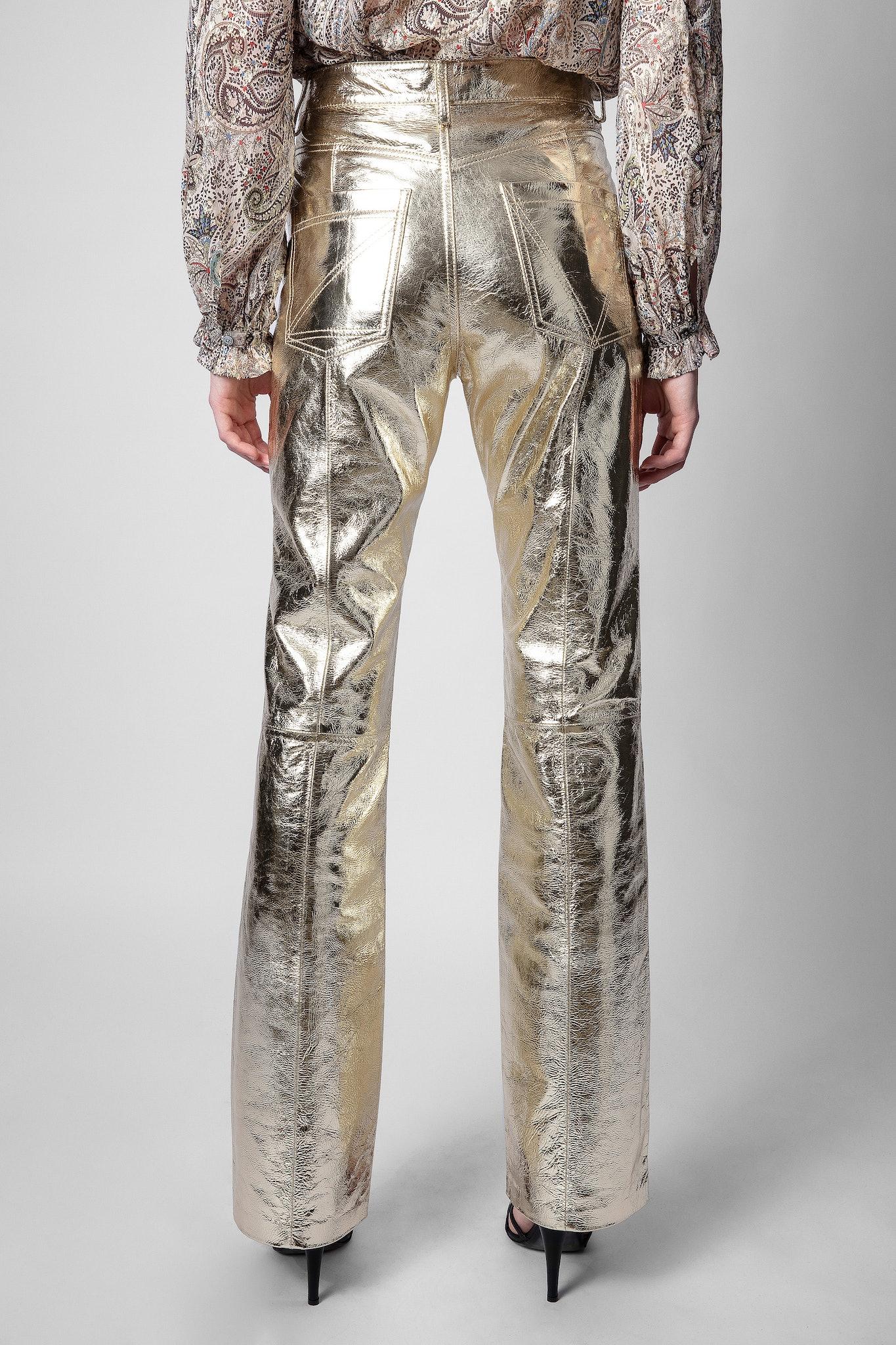 Leather Pants Poete Gold Foil