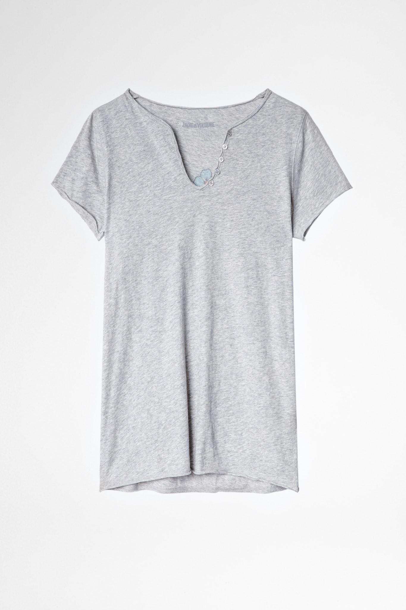 T-Shirt mit Henley-Ausschnitt Skull
