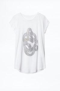 Strass Skull Snake Skinny T-shirt