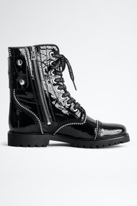 Joe Wrinkle Studs Ankle Boots