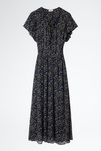 Rainy Crinkle Print Etoiles Dress
