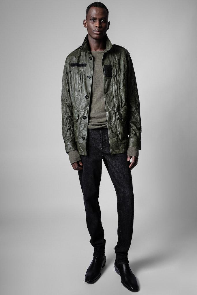 Kido Crinkle Blazer Crinkled Leather